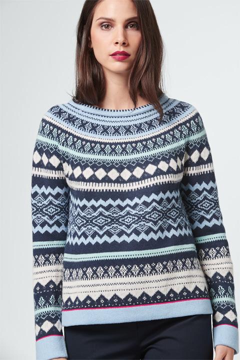 Strick-Pullover in Blau-Weiß gemustert