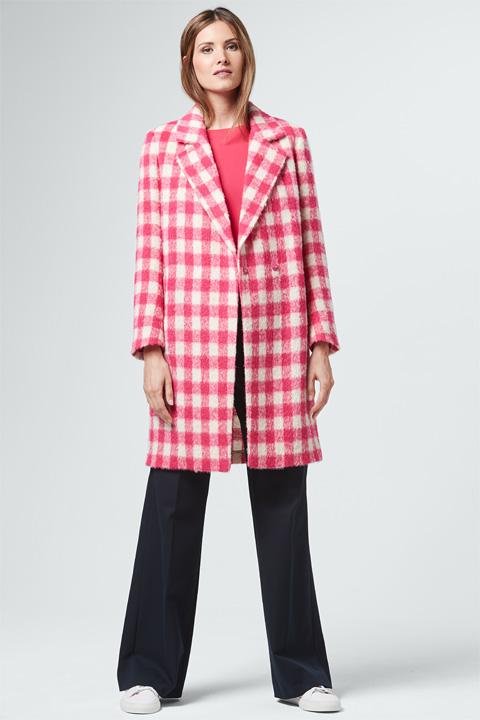 Mantel in Creme-Pink kariert